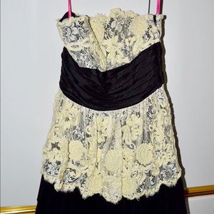 Betsey Johnson Strapless Black and Cream Dress